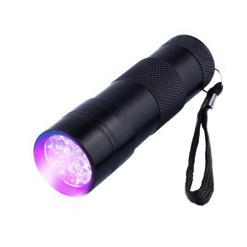 Фонарь светодиодный. Ультрафиолетовый 12 LED (УФ - 395nm~400nm, 3xAAA), черный