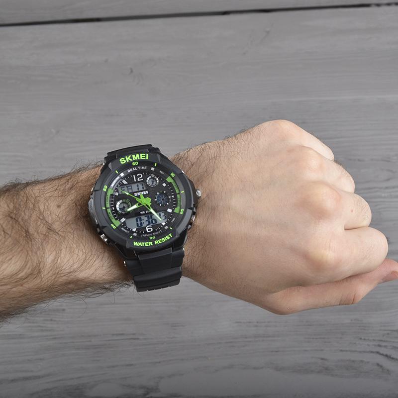 Часы Skmei 0931, черный-зеленый, в металлическом боксе