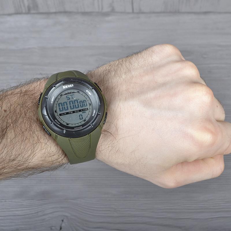 Часы Skmei 1074, армейский зеленый, в металлическом боксе