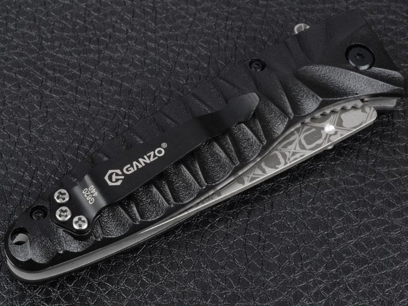 Нож складной Ganzo G620-B2 (длина: 205мм, лезвие: 88мм) с травлением, черный