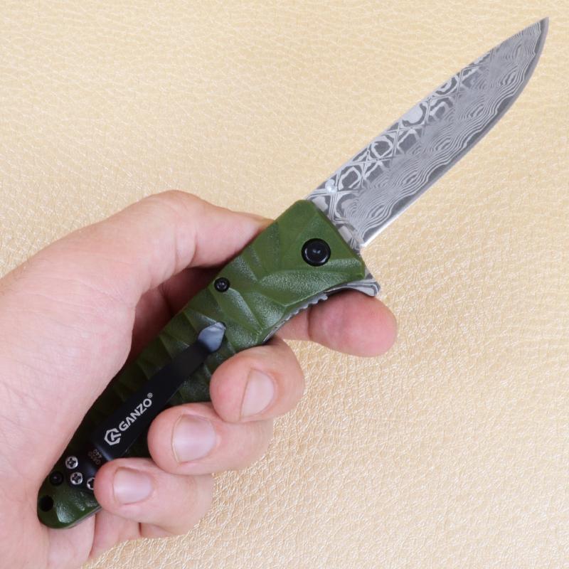 Нож складной Ganzo G620-G2 (длина: 205мм, лезвие: 88мм) с травлением, хаки