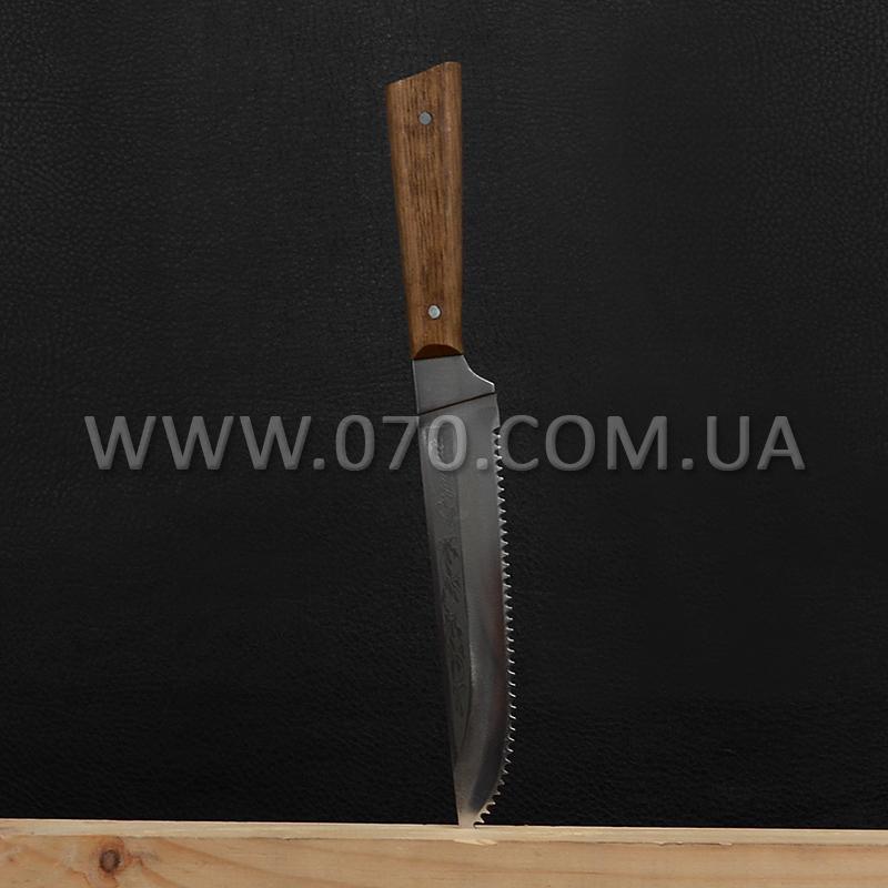 Нож бытовой, кухонный Спутник (270 х 28 x 1.5 мм), с притыном и пилой