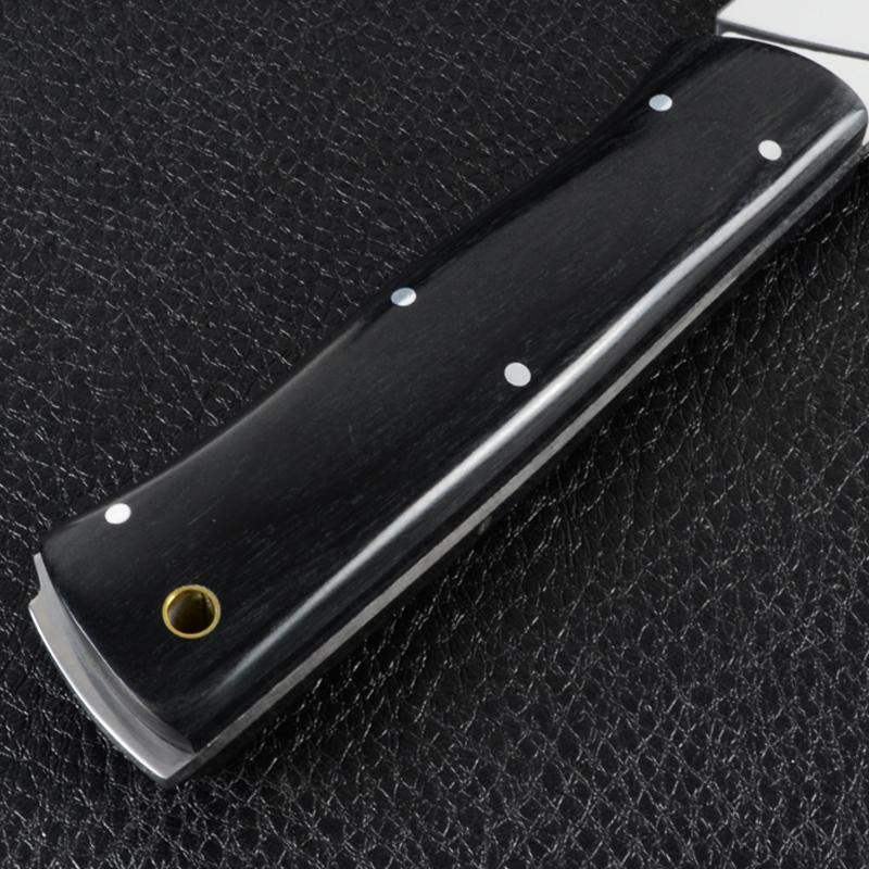 Нож фиксированный с черной рукояткой (длина: 24cm, лезвие: 11.5cm), кожаные ножны