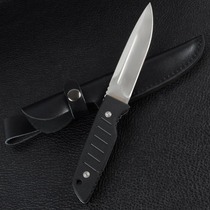 Нож фиксированный с черной рукояткой (длина: 25cm, лезвие: 13cm), кожаные ножны