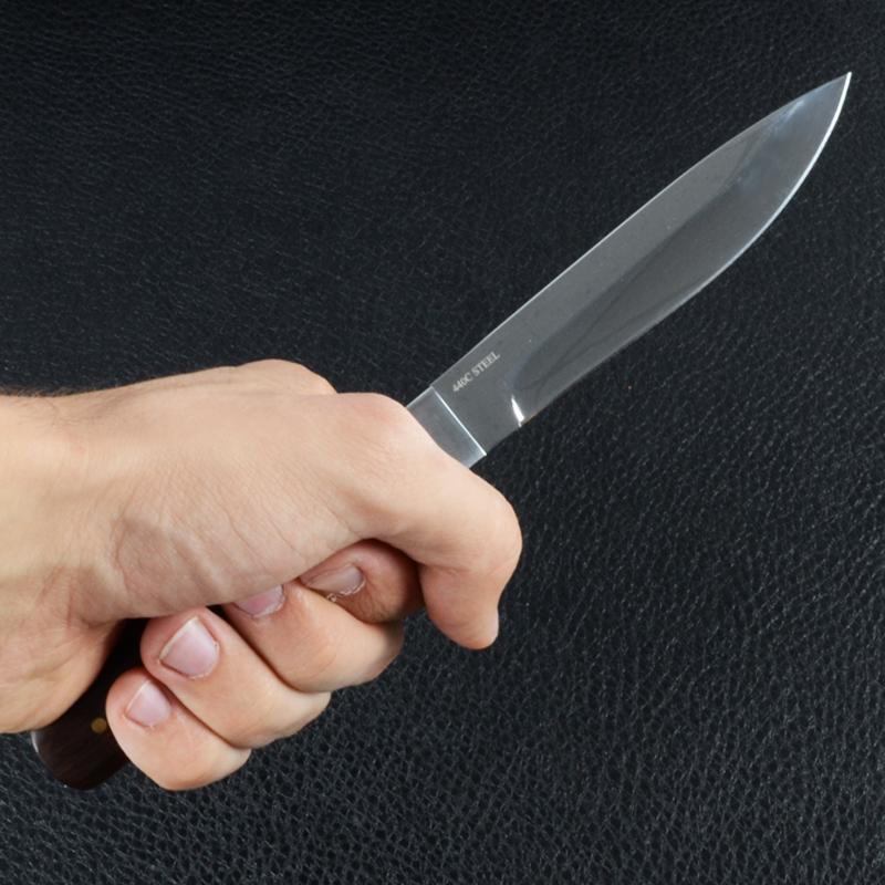 Нож фиксированный Штык, рукоять дерево, чехол кожа (длина: 24cm, лезвие: 12.5.cm)