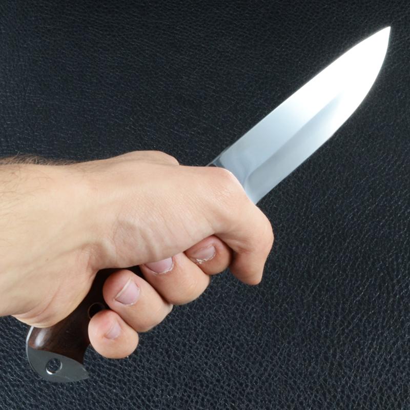 Нож фиксированный, рукоять дерево под пальцы, чехол кожа (длина: 24.5cm, лезвие: 12.5.cm)