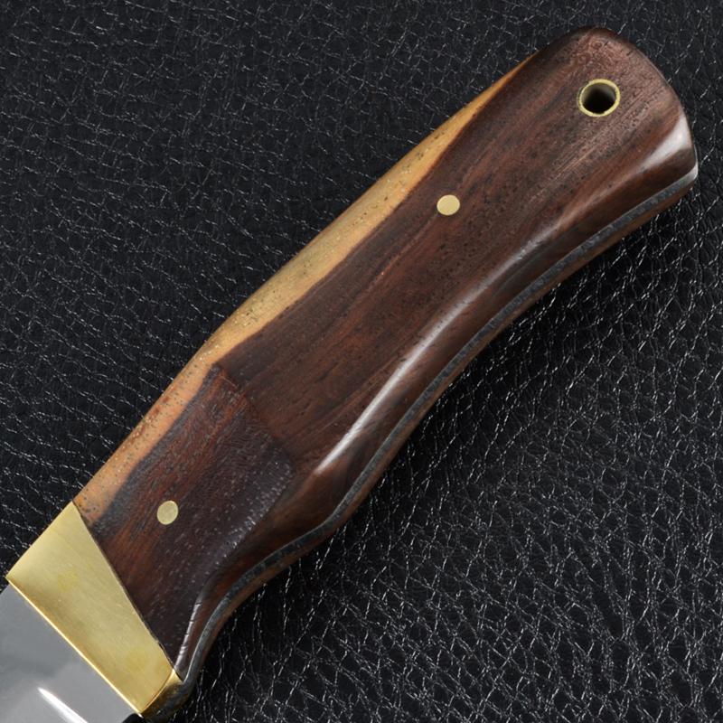 Нож фиксированный, рукоять дерево-латунь, чехол ткань (длина: 23.5cm, лезвие: 11.5.cm)