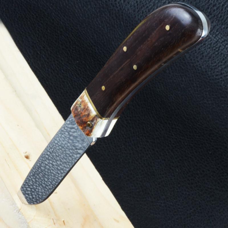 Нож фиксированный, рукоять дерево, чехол кожа (длина: 23cm, лезвие: 11.5.cm)