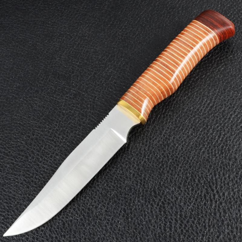 Нож фиксированный, рукоять наборная, чехол кожа (длина: 28cm, лезвие: 16.cm)