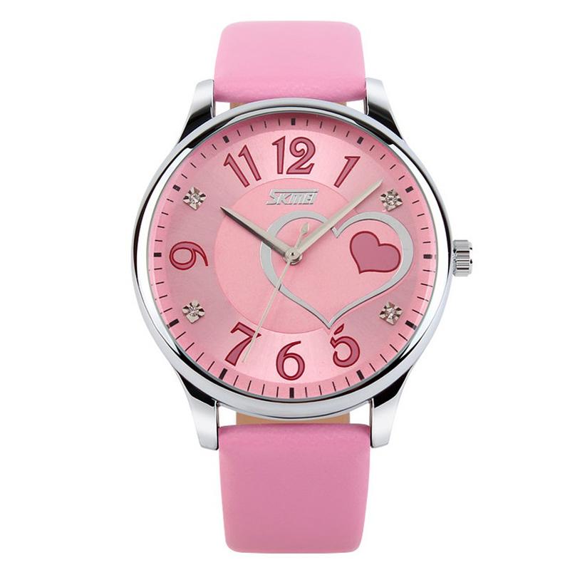 Часы кварцевые Skmei 9085, розовые, в металлическом боксе