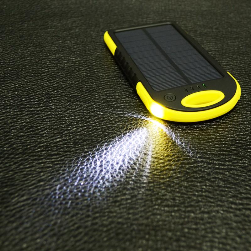 Power Bank c солнечной панелью и фонариком YD-T011 (5V, 5000mAh), жёлтый